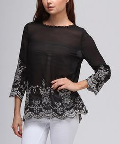 Love this Moon Collection Black Embroidered Sheer Top by Moon Collection on #zulily! #zulilyfinds
