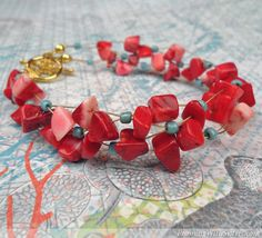 Coral Crisscross Bracelet..Show off your beading skills by creating a cuff with crisscrossing strands of coral and turquoise beads.