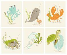 Wall art for kids room, Sea Creatures Set