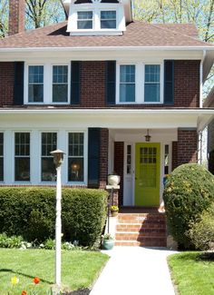 Porch Design, Eclectic Exterior Design With Bright Green Front Door Porches Also Also Red Bricks Wall Pillars Also Traditional Windows Desig. Bright Front Doors, Green Front Doors, Painted Front Doors, Front Door Colors, Exterior House Colors, Exterior Doors, Exterior Design, Front Porch Design, Small Front Porches