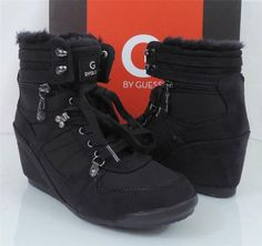 Women's shoes G by GUESS ROYSE High Top Wedge Sneakers Black fabric Size 8.5 #Guess #FashionSneakers