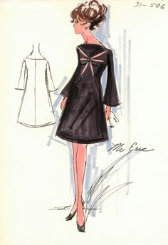 Cocktail dress sketch by Mr Eric for Bergdorf Goodman, 1960s.