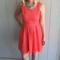J. Crew size 4 dress Beautiful coral color with a flattering A-line fit. Darling front pockets! Perfect for spring and summer! 65% cotton 35% nylon J. Crew Dresses Midi