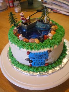 Fishing Theme Birthday Cake Fishing Cake, water was made with piping gel, candy rock, buttercream frosting Fish Cake Birthday, Homemade Birthday Cakes, Themed Birthday Cakes, Themed Cakes, Fishing Theme Cake, Fishing Cakes, Fishing Bait, Surf Fishing, Fishing Gifts