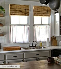 Ikea dishtowel cafe curtains - our vintage home love: Kitchen Updates