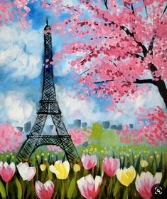 Paris in Spring painting, Eiffel Tower, tulips and pink flowering trees. Canvas Art Projects, Easy Canvas Art, Acrylic Canvas, Canvas Ideas, Canvas Canvas, Paris Painting, Spring Painting, Spring Drawing, Eiffel Tower Painting