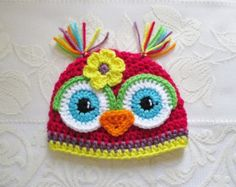 Bright Pink and Orange Crochet Owl Beanie by BusterBrowns on Etsy