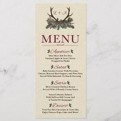 Rustic Winter Holiday Pine Wedding Dinner Menu