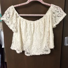 Lace Crop Top Creme lace! Perfect for a day out or concert PacSun Tops Crop Tops