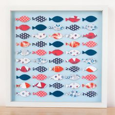 Red White and Blue Fish Framed Art - Love this for a nautical room.