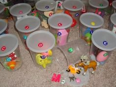 Alphabet sounds - I shadowed a therapist who used these with a child who recently obtained cochlear implants. The little girl really loved the sound cups!