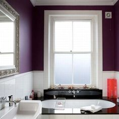 Decorating Some Living Spaces with Combination of White and Purple Theme : Comfy Bathroom with Purple Wall Design