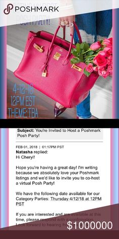 BEST IN BAGS POSH PARTY 4/12/18 12PM PST/ 3PM EST OMG I'M HOSTING MY FIRST POSH PARTY BEST IN BAGS 4/12/18 12PM PST / 3PM EST  POSH COMPLAINT CLOSETS ONLY NO DIRECT SHARES TO DRESSING ROOM FOLLOW/LIKE/SHARE/COMMENT TO BE CONSIDERED FOR A HOST PICK ONLY IF POSH COMPLAINT  CANT WAIT TO PARTY ❌⭕️ CHERYL Posh Party Other
