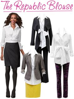 Any posh professional knows that a classic white shirt is the perfect choice for any career occasion. CAbi's Fall '12 Collection is riddled with fabulous white shirts and blouses that are classic, but anything but basic! The Republic Blouse's cool new take on the crisp button-up, complete with a fun and flirty tie front bow!