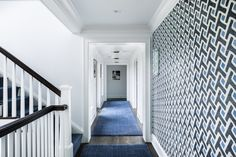 Hall and Stair Architecture and Interior Design Projects — Alisberg Parker Architects Stairs Architecture, Interior Architecture, Interior Design, Residential Architect, Weekend House, Painting Wallpaper, Contemporary Interior, White Walls, The Hamptons