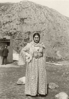 Virginia Romanou at the Delphic Festival of 1930. The Delphic Rock is visible behind her. Photo by Nelly's. Alexandros Romanos Archive.