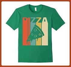 Mens Vintage Retro Silhouette Pizza T-Shirt Large Kelly Green - Retro shirts (*Partner-Link)