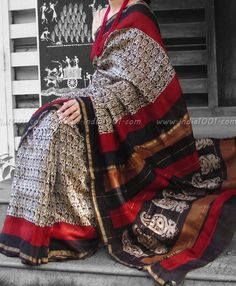 Elegant Chanderi Saree with Block Printing | India1001.com