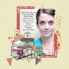 Eee! Look at this super cool page from Carrie for January #29! I absolutely love the journaling over the tile in the background of her photo! Perfect font choices. Awesome composition. This page rocks!