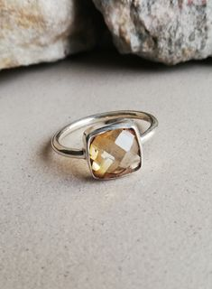Citrine Jewellery – Citrine Silver Ring, Cushion Shape Ring,Fancy Ring – a unique product by Midas-Jewelry on DaWanda Cushion Ring, Citrine Gemstone, Silver Rings, Fancy, Shape, Jewellery, Gemstones, Unique, Handmade