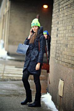 the fluro beanies keep on comin! #KristinaRomanova #offduty in NYC.