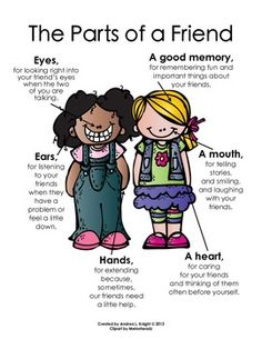 The Parts of a Friend {Melonheadz Clipart Version} This item includes both boys and girls. $