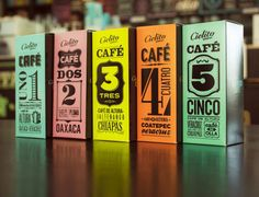 These packaging labels are typographically inspired! Great use of color…