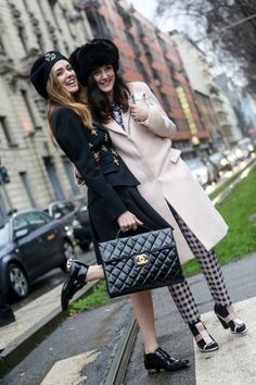 Milan Fashion Week Street Style #MFW LOVING The girl on the left style