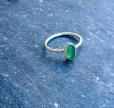 Sea Glass ring green stacking ring handmade by GraceBaskerville