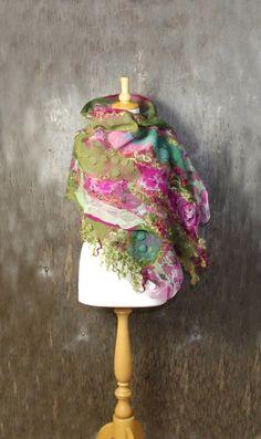 Felted scarf Nuno felted scarf Felt shawl merino wool by AnnaWegg