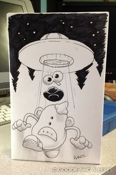 """This guy is known for taking crazy drawing requests. He delivers. """"Mr. Potato Head Being Abducted By Aliens."""""""