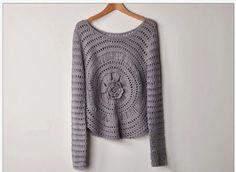 Crochet Flower Center Fall Pullover – Free Pattern