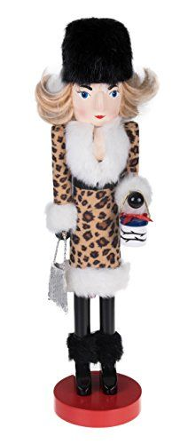 Wooden Nutcracker Woman with Purse and Leopard Print Coat 1525 Tall *** You can find more details by visiting the image link.