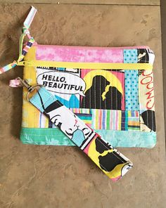 Quilted wristlet purse, double zipper clutch, multicolor patchwork, Lovers kiss by PopThree on Etsy https://www.etsy.com/listing/245231487/quilted-wristlet-purse-double-zipper