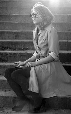 the heat wave has me yearning for fall/spring again... all of my faves: feminine twist on classic trench, braided belt, black pumps, patterned tights.