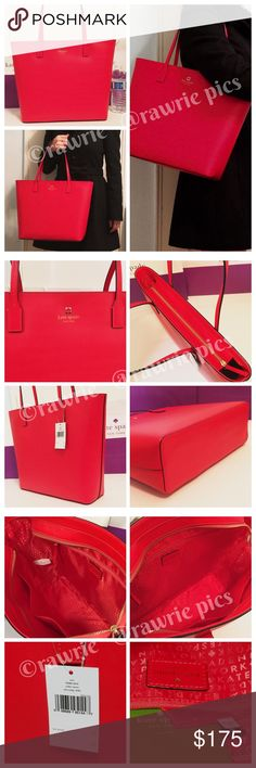 """New Kate Spade red leather large zip top tote 100% authentic Kate Spade tori smooth leather tote. Red leather with 14-karat light gold plated hardware. Zip top closure and fabric lining. Inside zip and slip pockets. Handles drop 8.5"""". Measures 15.5""""top/12""""bottom x 11.75"""" (H) x 4"""" (W). Brand new with tags. Comes from a pet and smoke free home. Kate Spade shopping bag included. kate spade Bags Totes"""