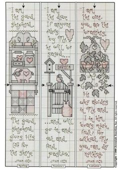 Cross-stitch country stitching bookmarks, part 2... color chart on part 1