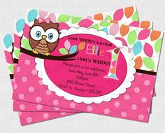 Pretty Owl Birthday Party Invitation  DIGITAL DIY by babyfables, $12.50  www.babyfables.etsy.com