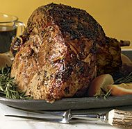 With just a few seasonings rubbed on a day ahead, a slow-roasted fresh ham (that is, an uncured, unsmoked hind leg of a hog), becomes a juicy, fork-tender, and fragrant holiday centerpiece.
