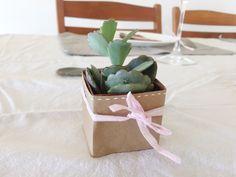 Deco table fête des mères succulentes origami rose vert