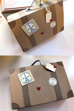 Meine Freundin Silke war gestern zum Basteln bei uns. Für ein Hochzeitsgeschenk wollte sie gerne einen Koffer haben, wo man zu Hemden gefaltete Geldscheine ver