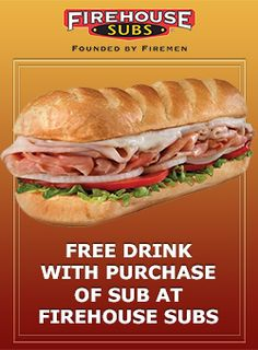 Free Drink with Purchase of Sub at Firehouse Subs #egghunting