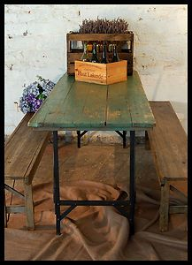 contrast between the floor and wall texture/color Rustic Industrial, Industrial Design, Table And Bench Set, Camping Table, Rustic Design, Textured Walls, Drafting Desk, Porch, Picnic