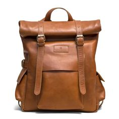 Tan Leather Rolltop BackPack