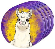"""Amazon.com: Custom & Cool {4"""" Inches} Set Pack of 4 Round Circle """"Flat & Smooth Texture"""" Drink Cup Coasters Made of Acrylic w/ Funny Cute Llama Tongue Out Design [Colorful Purple, Gold & White]: Home & Kitchen"""