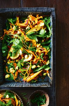 Maple roasted pear and sweet potato salad Raw Food Recipes, Vegetable Recipes, Salad Recipes, Vegetarian Recipes, Cooking Recipes, Roast Vegetable Salad, Healthy Recipes, Salad With Sweet Potato, Potato Salad
