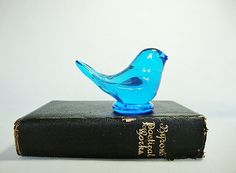 vintage glass blue bird - this is just like the one I remember my great grama having :)