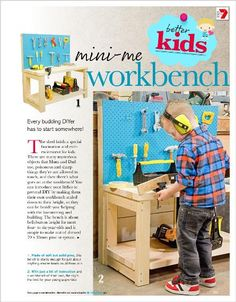 Mini-me workbench: Every budding DIYer has to start somewhere! - image clipped from page 211 of Better Homes and Gardens, Sep 2013 issue by the Netpage App.