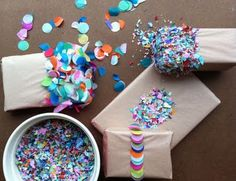 {Paper} Dipping Confetti.  All those old magazines would be perfecto for this!