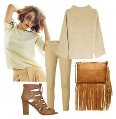"""""""Beige and caramel"""" by stefania-fornoni ❤ liked on Polyvore featuring (+) PEOPLE, The Row, Carlos by Carlos Santana, fringe, bag and beige"""